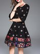 Black A-line 3/4 Sleeve Floral-embroidered Midi Dress