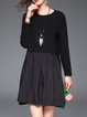 Black Casual Plain Paneled Folds Mini Dress