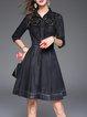 Black Elegant A-line Crocheted Midi Dress
