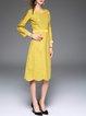 Yellow Jacquard Long Sleeve Midi Dress