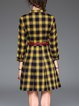 Elegant Checkered/Plaid Buttoned 3/4 Sleeve Mini Dress