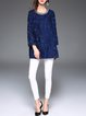 Navy Blue Long Sleeve Jacquard Beaded Coat