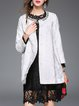 White Jacquard Shift Floral Long Sleeve Coat