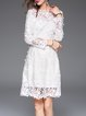 Long Sleeve Girly Guipure Lace Floral A-line Midi Dress With Camis