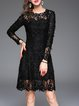A-line Girly Guipure Lace Embroidered Long Sleeve Midi Dress