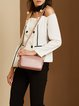 Small Simple Plain Cowhide Leather Zipper Crossbody