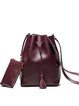 Red Casual Split Leather Small Shoulder Bag