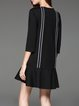 Black Casual Binding A-line Mini Dress