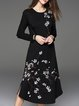 Black Crew Neck Vintage Floral-print A-line Midi Dress