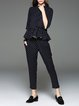 Black Polka Dots Two Piece Ruffled Crew Neck Casual Jumpsuit