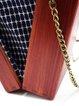 Brown Rectangle Wooden Twist Lock Statement Crossbody