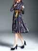 Multicolor Abstract Vintage Printed Midi Dress