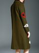 Army Green Beaded Lapel Animal Embroidered Long Sleeve Coat