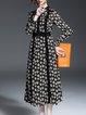 Multicolor Vintage Long Sleeve Floral-print A-line Midi Dress