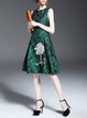Green Jacquard Sleeveless Floral Embroidered Midi Dress
