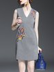 Gray Cotton-blend Sleeveless Embroidered V Neck Mini Dress