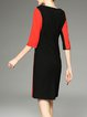 Orange V Neck Color-block Half Sleeve Sheath Midi Dress