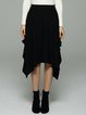 Black Knitted Solid Skirts Casual Asymmetrical Poncho