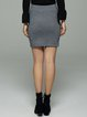 High Low Casual Solid Knitted Mini Skirt