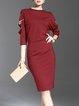 Crimson Batwing Beaded Cutout Bodycon Midi Dress