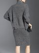 Two Piece Batwing Beaded Embroidered Bodycon Sweater Dress