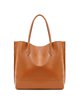 Simple Medium Solid Cowhide Leather Zipper Tote