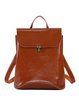 Push Lock Simple Solid Cowhide Leather Backpack