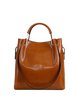 Zipper Solid Cowhide Leather Simple Shoulder Bag