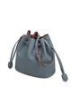 Casual Solid Cowhide Leather Small Drawstring Bucket Crossbody