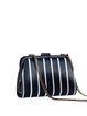 Black-white Retro Stripes Printed Clasp Lock Microfiber Leather Clutch