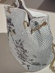 White Printed Metal Mesh Retro Small Shoulder Bag