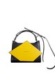 Statement Small Snap Color-block Cowhide Leather Satchel