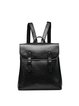 Plain Cowhide Leather Retro Magnetic Backpack