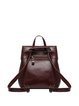 Medium Casual Push Lock Solid Cowhide Leather Backpack
