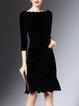 Elegant Solid  Ruffled Midi Dress