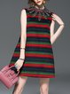 Stripes Elegant Beaded Mini Dress