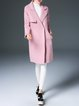 Wool Blend Lapel Long Sleeve Solid Coat