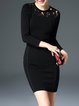 Guipure Lace Bodycon Elegant Solid Long Sleeve Mini Dress