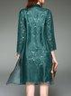 Green Silk Guipure Lace A-line Vintage Floral Coat