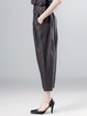 Coffee Solid Casual Linen Wide Leg Pants