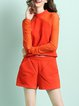 Orange Two Piece Long Sleeve Pockets Crew Neck Romper