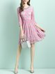 Pink Girly Floral Guipure Lace A-line Mini Dress