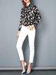 Geometric Printed Shirt Collar Long Sleeve Silk Casual Blouse