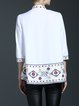White Embroidered Cotton 3/4 Sleeve Blouse