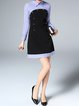 Blue Wool Blend Stripes Buttoned Color-block Long Sleeve Mini Dress