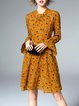 Pleated Girly Silk-blend Floral Print Frill Sleeve Ruffled Midi Dress With Camis