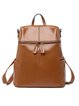Zipper Casual Solid Split Joint Cowhide Leather Large Backpack