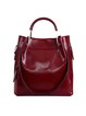 Zipper Solid Cowhide Leather Shoulder Bag
