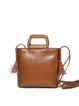 Simple Zipper Doble Tassel Cowhide Leather Crossbody Bag