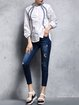 Blue Casual Pockets Cotton Jeans